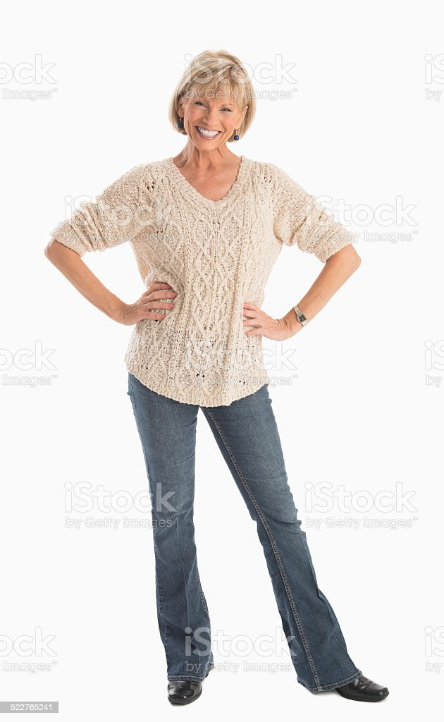 Mature Woman In Casuals With Hands On Hip stock photo