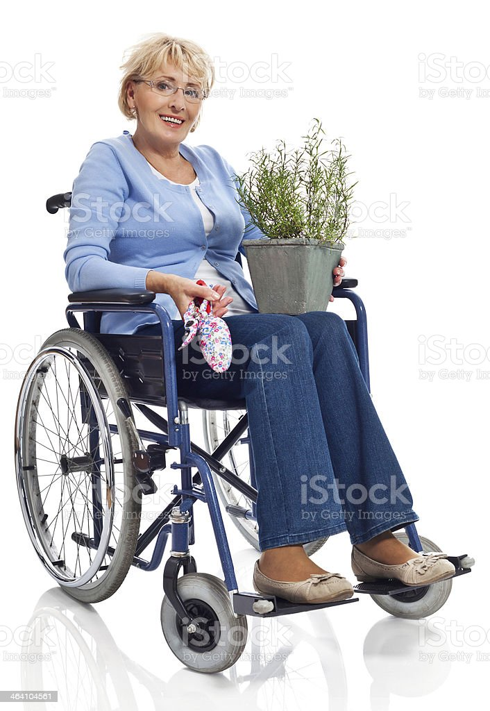 Mature woman in wheelchair Portrait of mature woman sitting in wheelchair with a rosemary and gardening equipment in hands, smiling at camera. Studio shot on white background. 60-69 Years Stock Photo