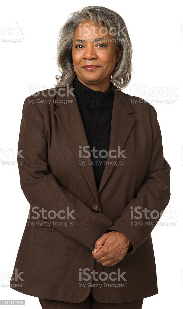 Mature Woman Looking At Camera With Hands Together royalty-free stock photo