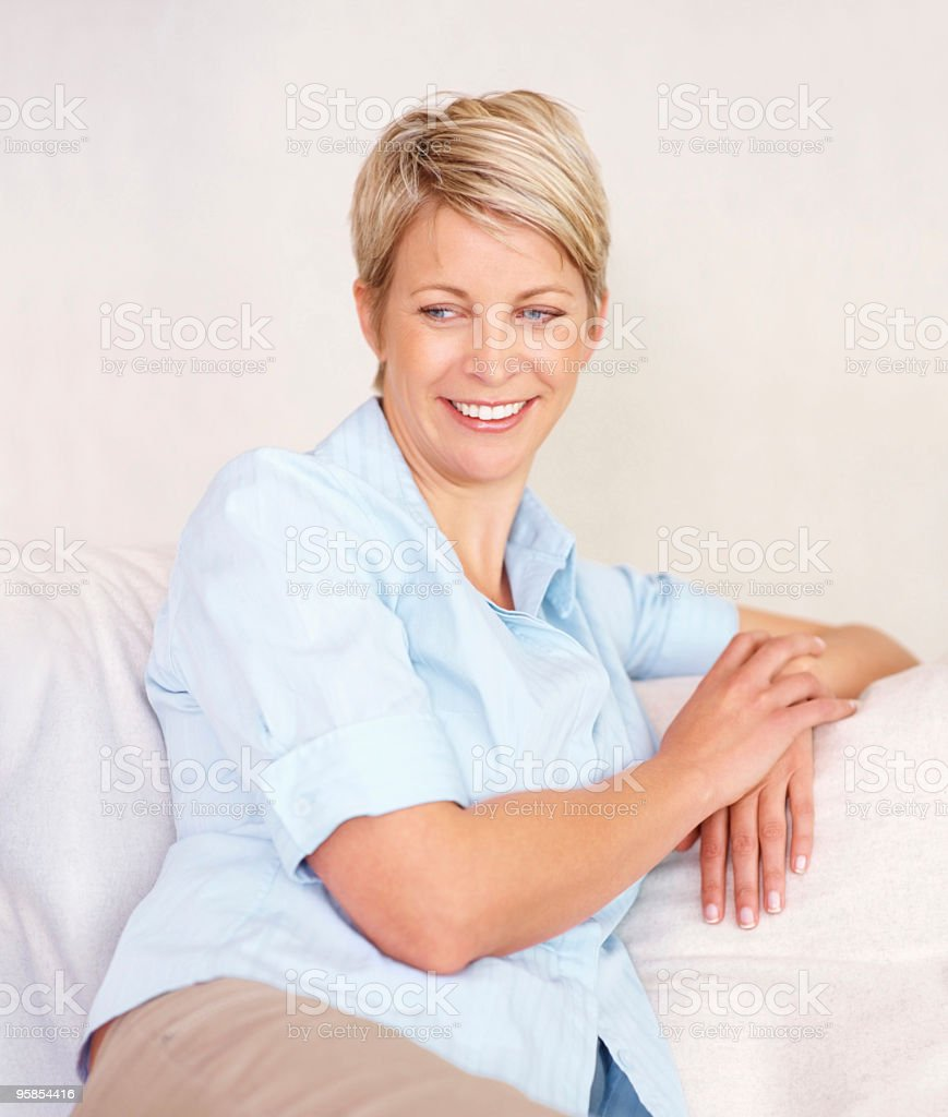 Mature woman looking away smiling royalty-free stock photo