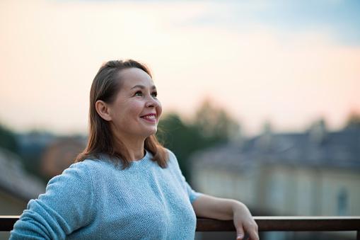 Woman's portrait with copy space