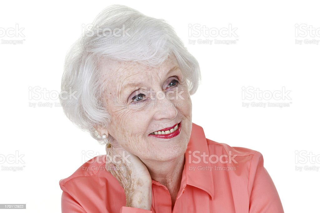 Mature woman looking to copy space stock photo