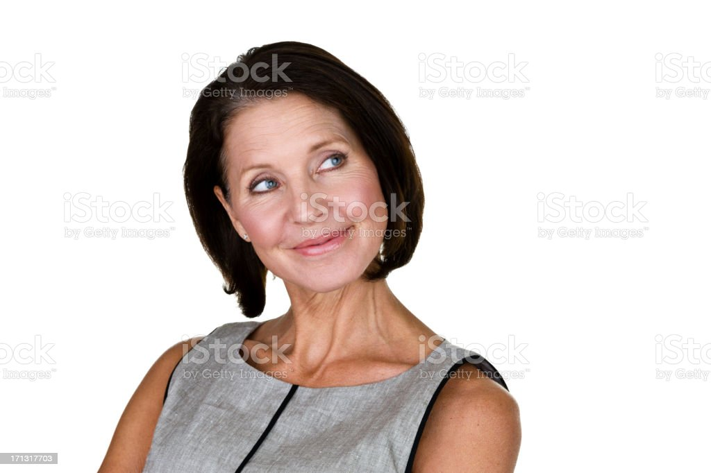 Mature woman looking to one side royalty-free stock photo