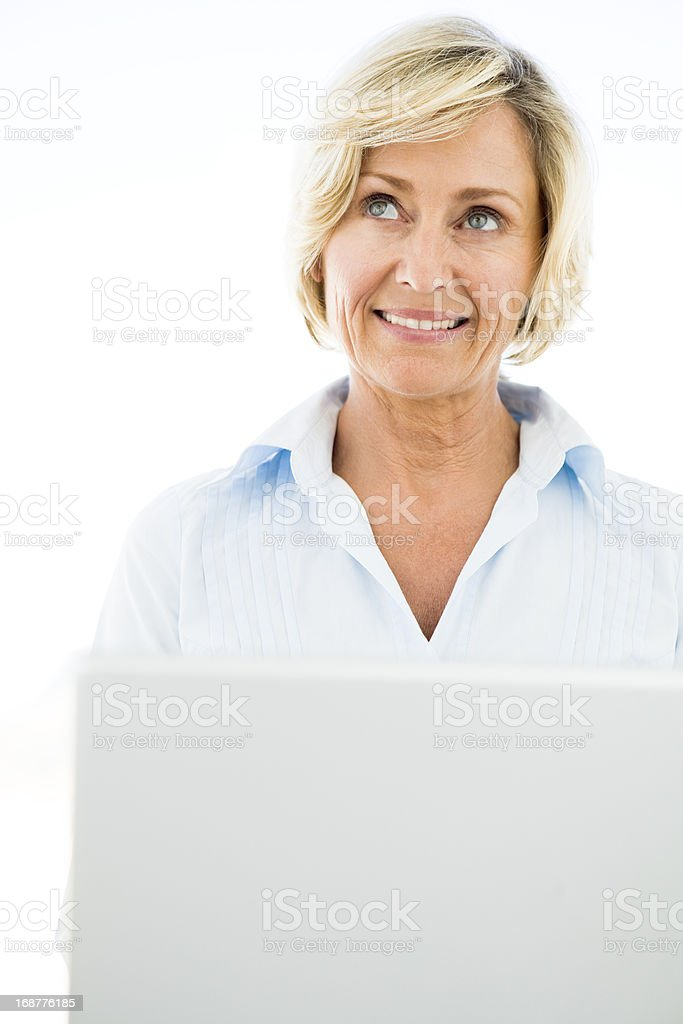 Mature woman looking up royalty-free stock photo