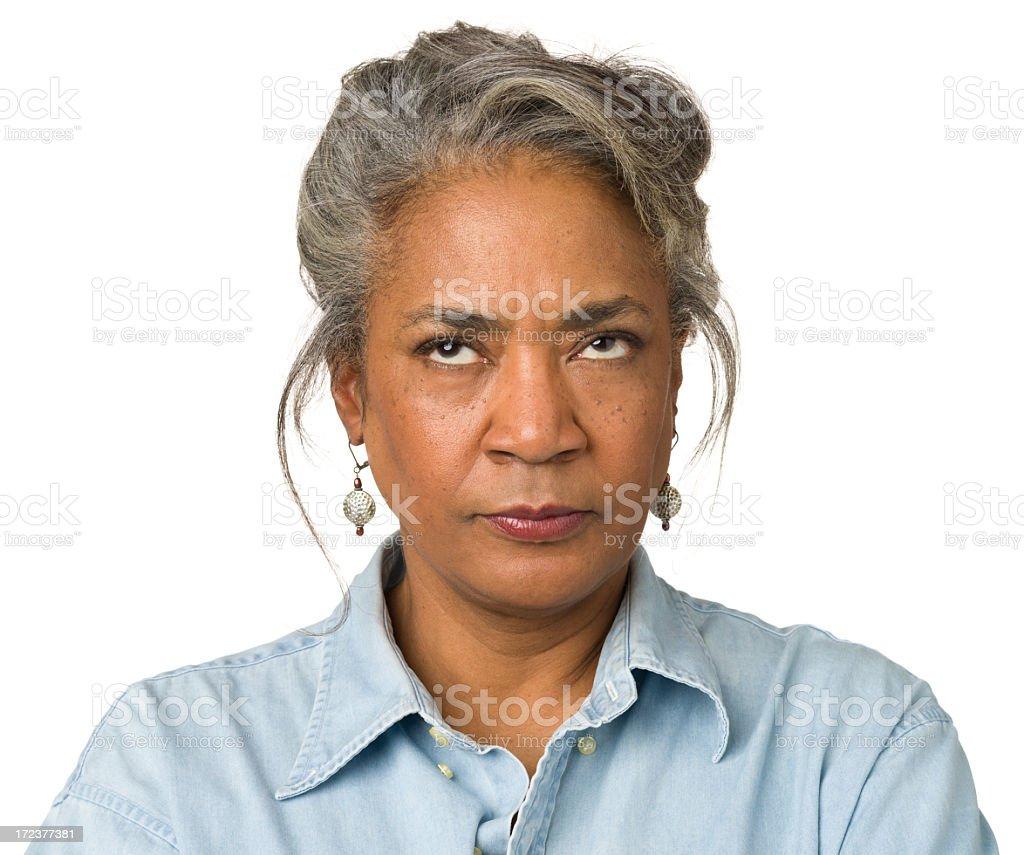Mature Woman Looks Upwards stock photo