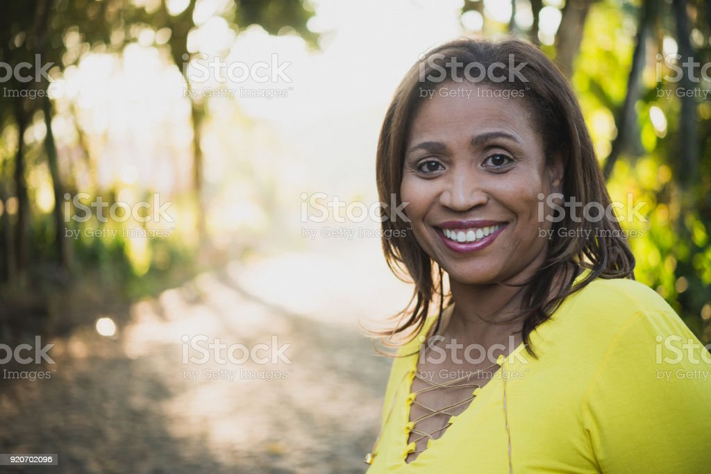 Mature woman outdoor stock photo