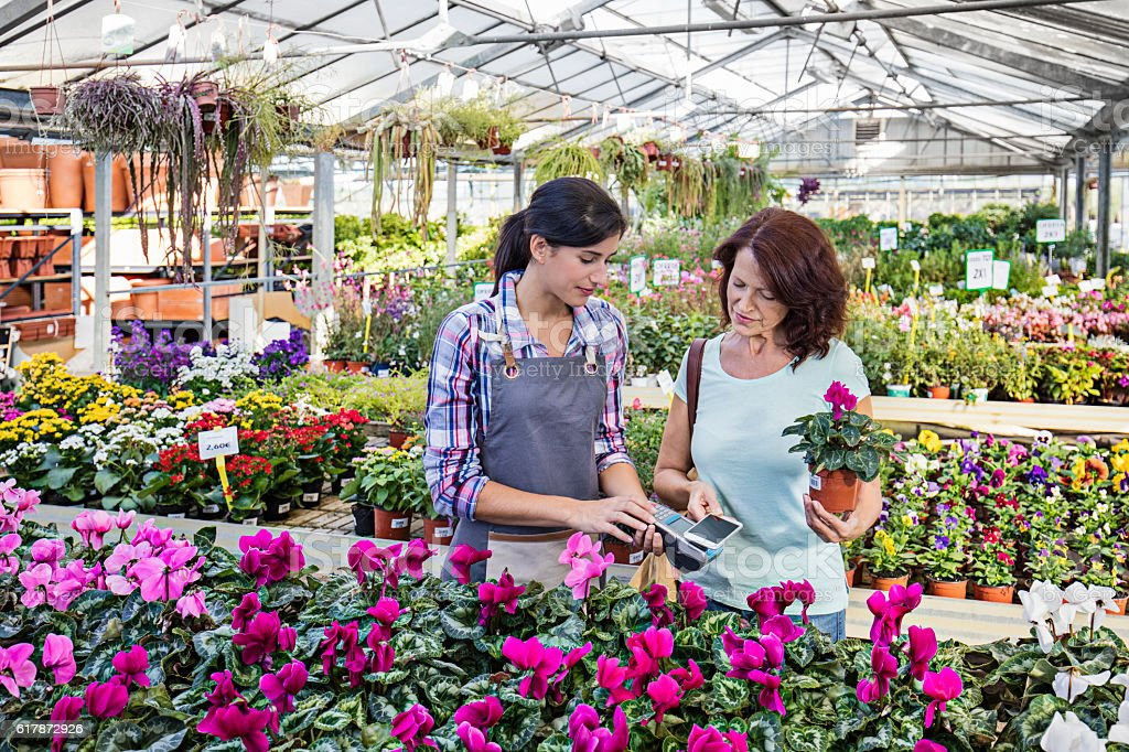 Mature woman paying for purchase in garden store stock photo