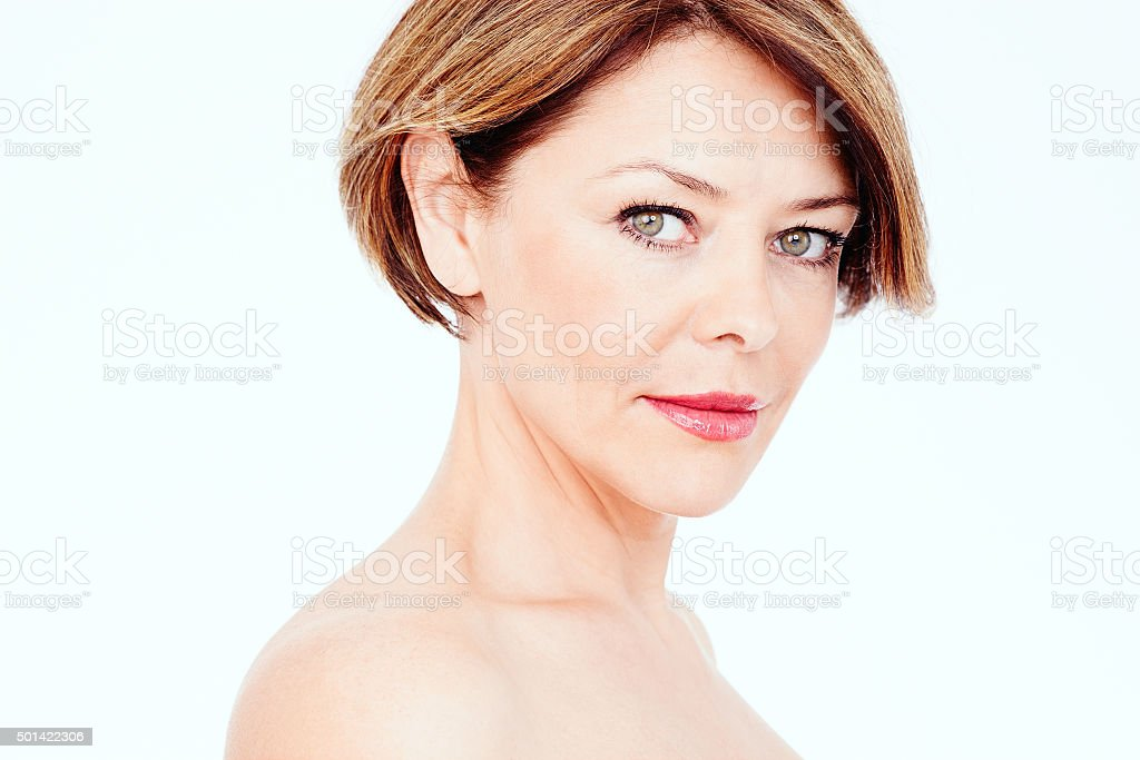 Mature woman portrait stock photo