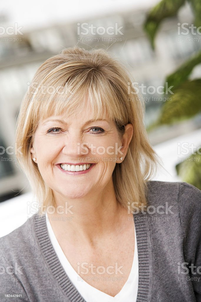Mature Woman Relaxing at Home stock photo