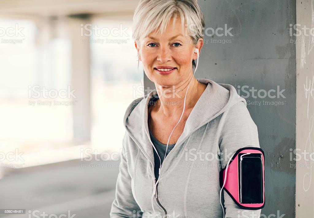 Mature Woman Running. stock photo