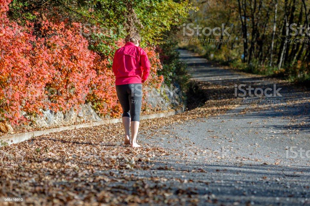 Mature woman running,barefoot runner,leaves, autumn, Slovenia, Europe royalty-free stock photo