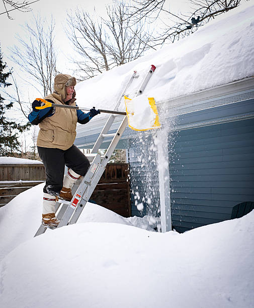 Mature Woman Shovels Snow From a House Roof. stock photo
