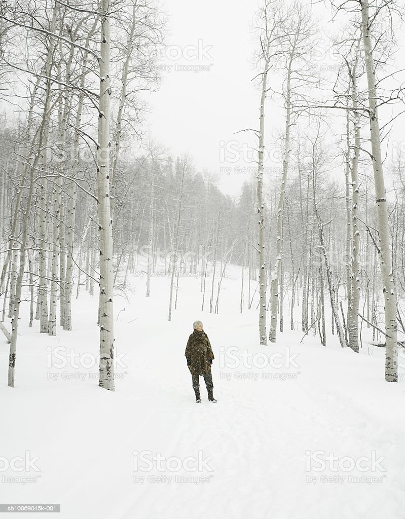 Mature woman standing in snow royalty-free stock photo