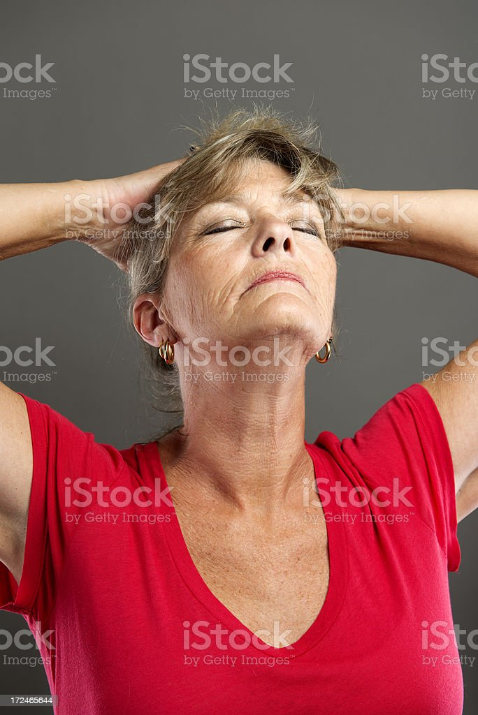 Mature woman stressed. royalty-free stock photo