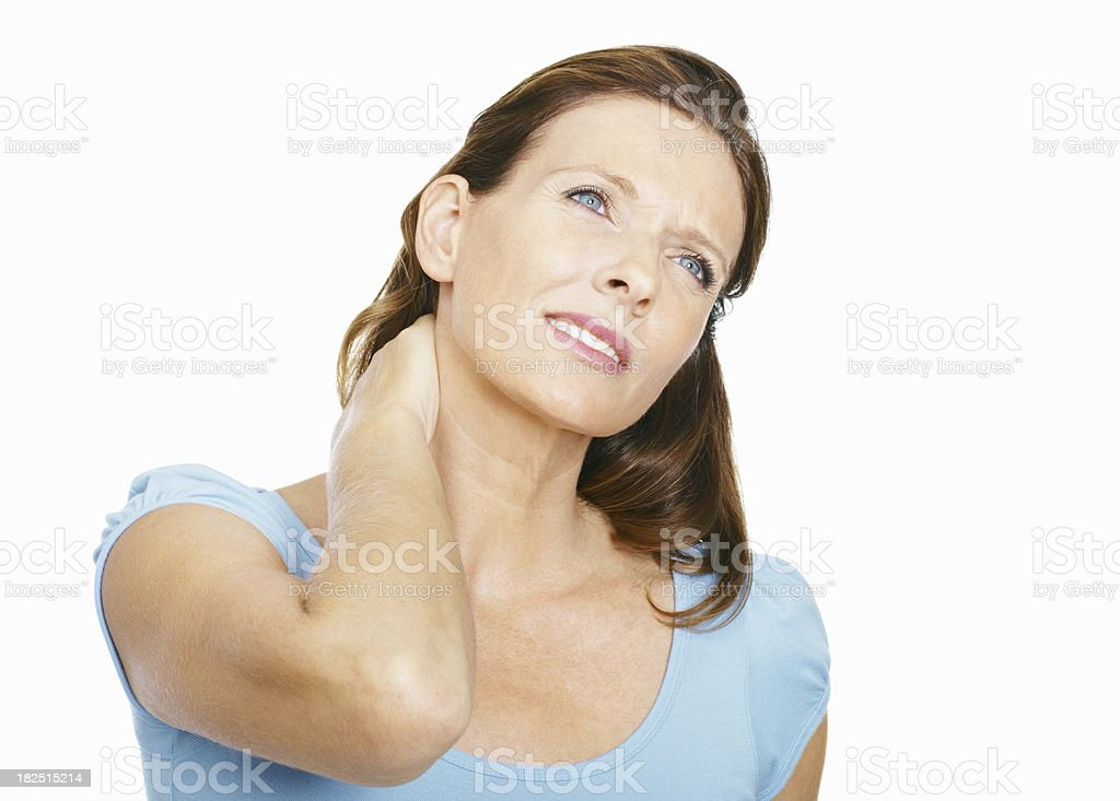 Mature woman suffering from neck ache royalty-free stock photo