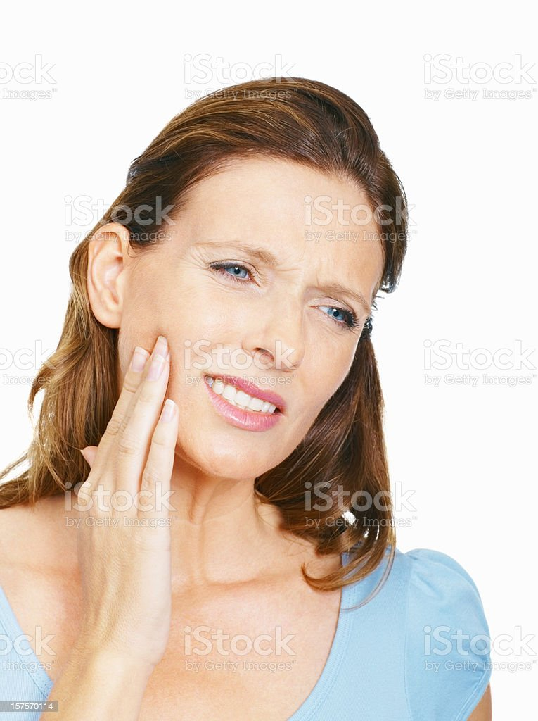 Mature woman suffering from toothache royalty-free stock photo