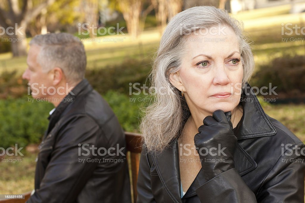 Mature Woman Thinking About Her Troubled Relationship royalty-free stock photo