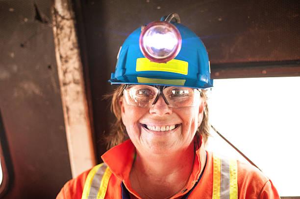 Mature Woman Underground Miner with Headlamp. stock photo