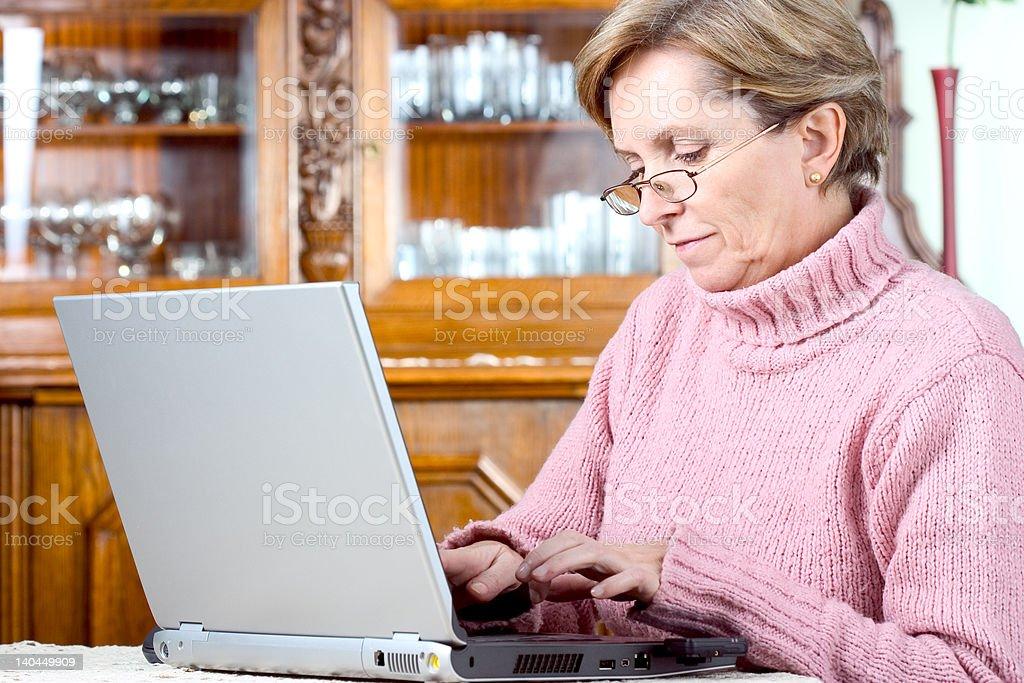 Mature woman using notebook stock photo