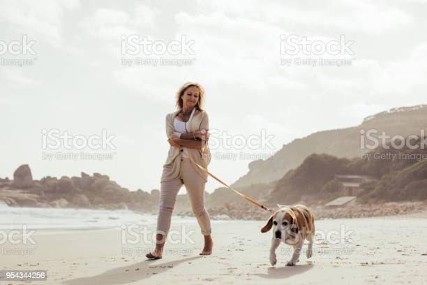 Mature woman walking her dog on the beach picture id954344256?b=1&k=6&m=954344256&s=612x612&h=oia9ke8ti0u4zjrvtpmlasla1yjk96m28dqfn5r sxs=