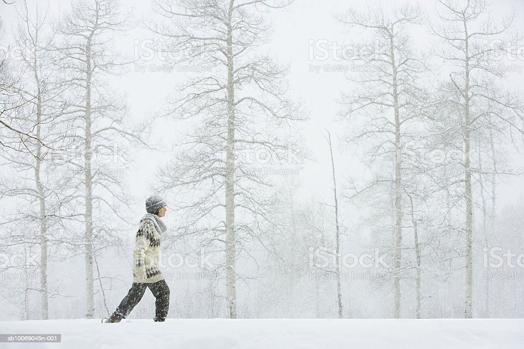 Mature woman walking in snow royalty free stockfoto