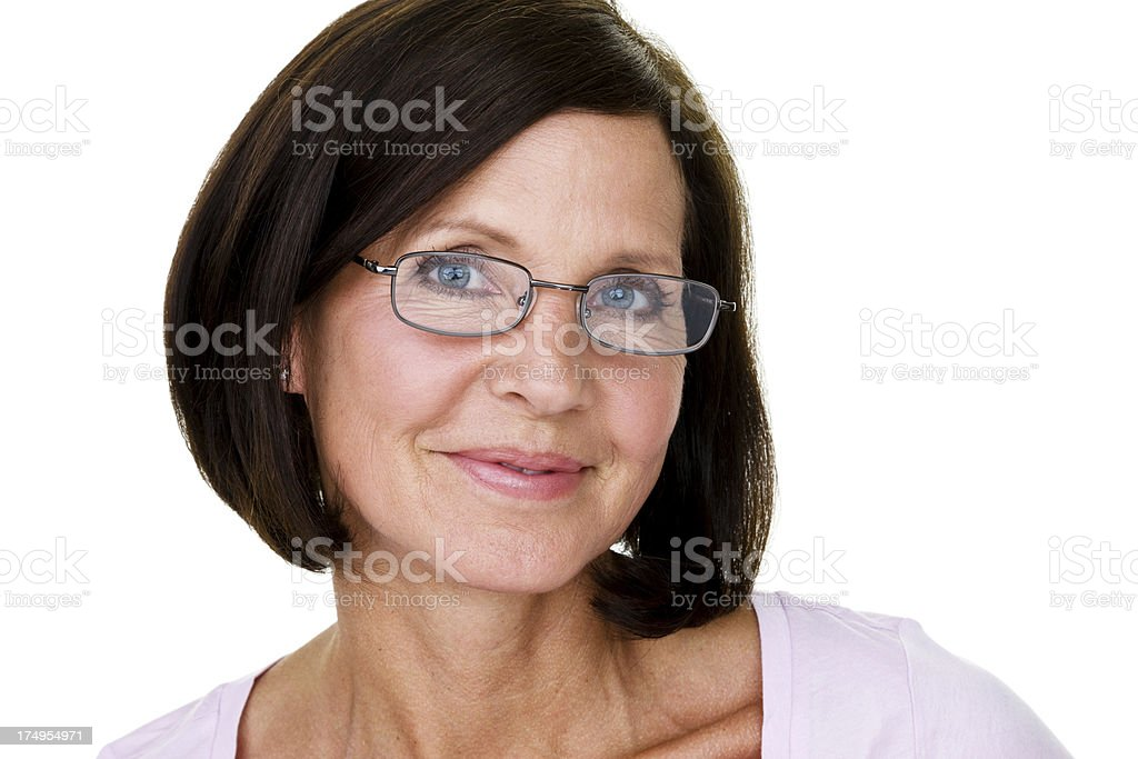 Mature woman wearing eye glassees royalty-free stock photo