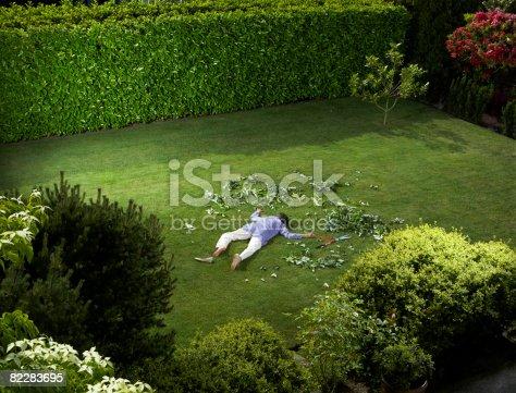 istock Mature woman who has fallen in backyard 82283695