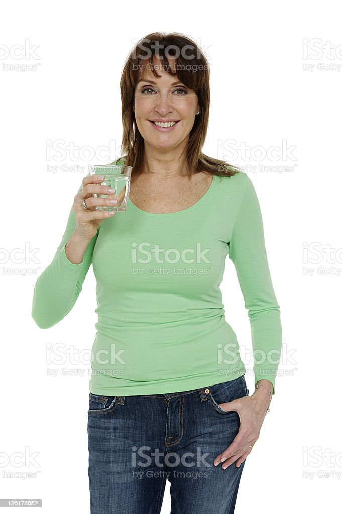 Mature woman with a glass of water royalty-free stock photo