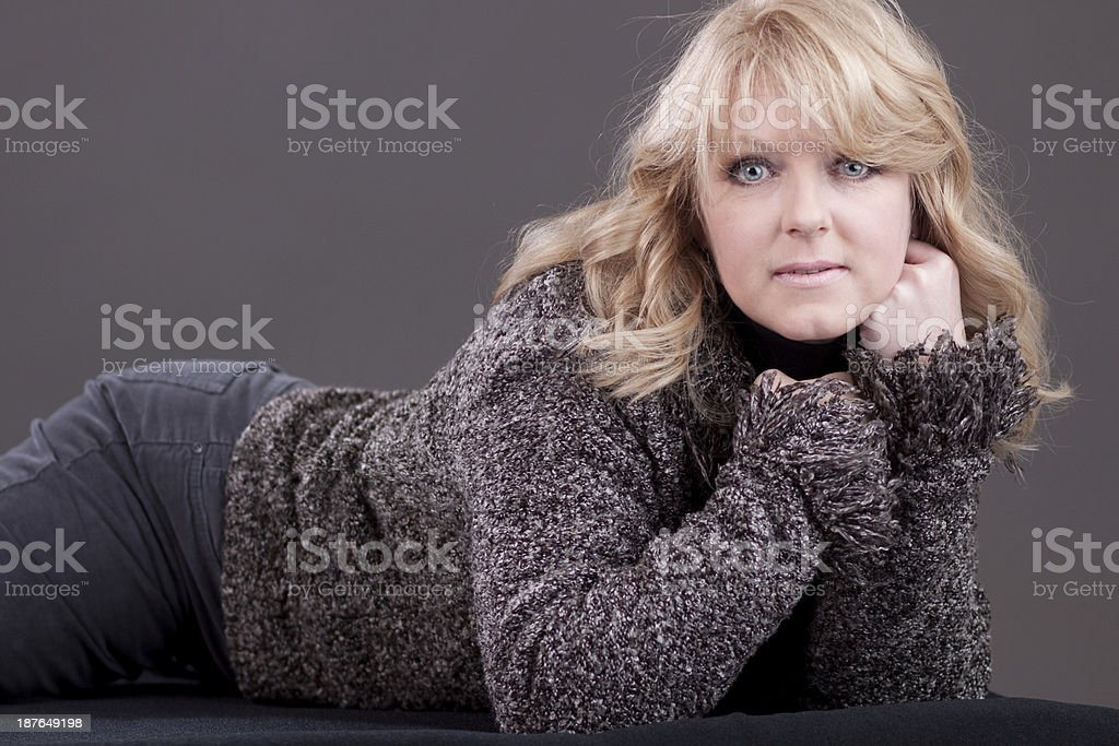 Mature Woman with Content Expression royalty-free stock photo