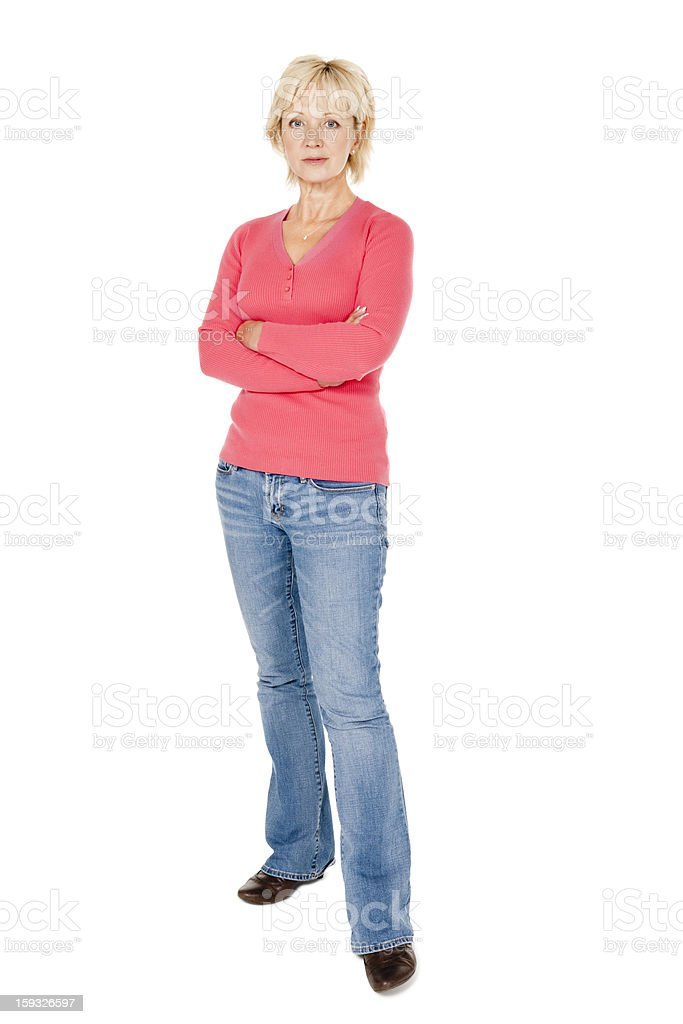 Mature Woman With Crossed Arms - Isolated stock photo