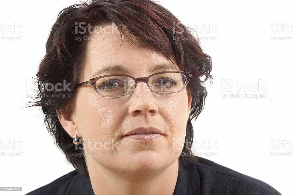 Mature woman with glasses royalty-free stock photo