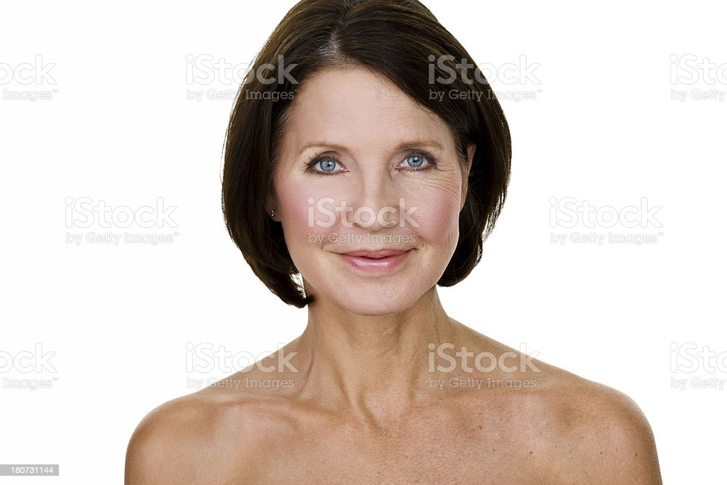 Mature woman with half the picture edited stock photo