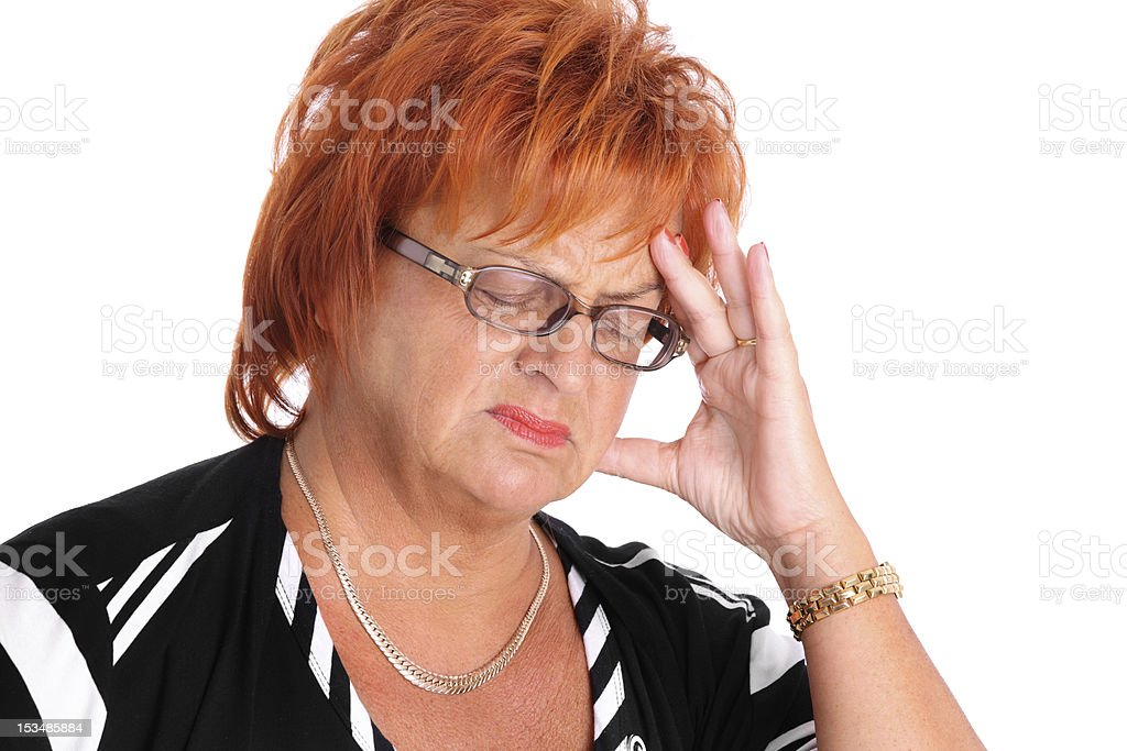 Mature woman with headache royalty-free stock photo