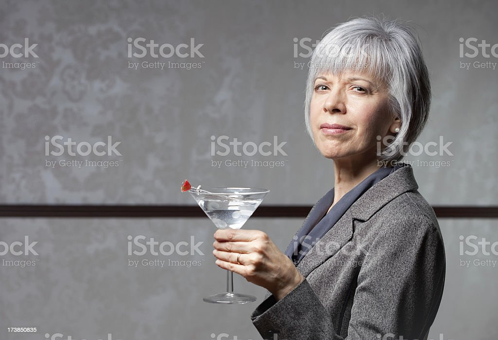 Mature Woman with Martini royalty-free stock photo