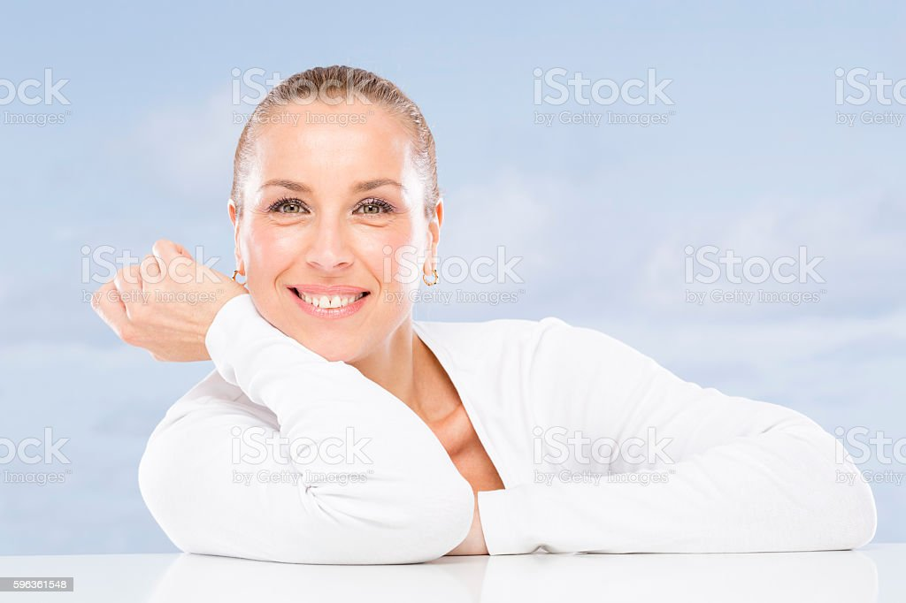 Mature woman without wrinkles. royalty-free stock photo