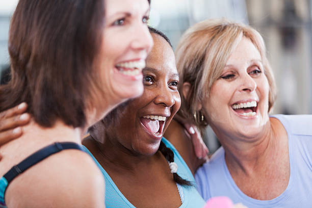 Mature women at the gym stock photo
