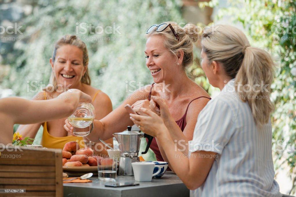 Mature Women Enjoying Holiday Breakfast stock photo