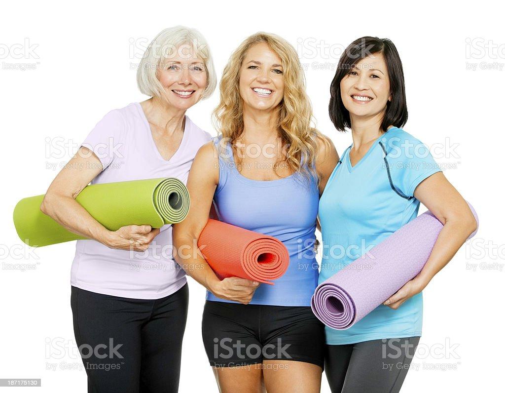 Mature Women Loving Yoga royalty-free stock photo