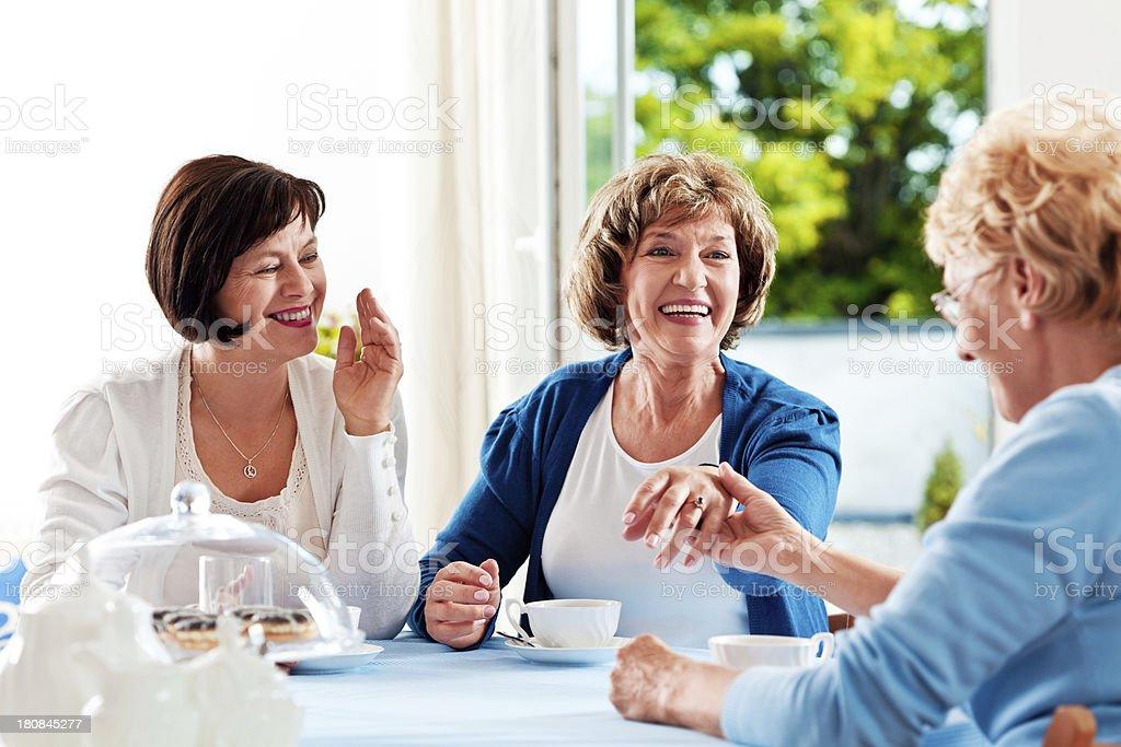 Mature women meeting royalty-free stock photo