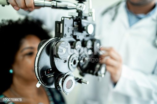 istock Mature women on a medical appointment with ophthalmologist 1200759975