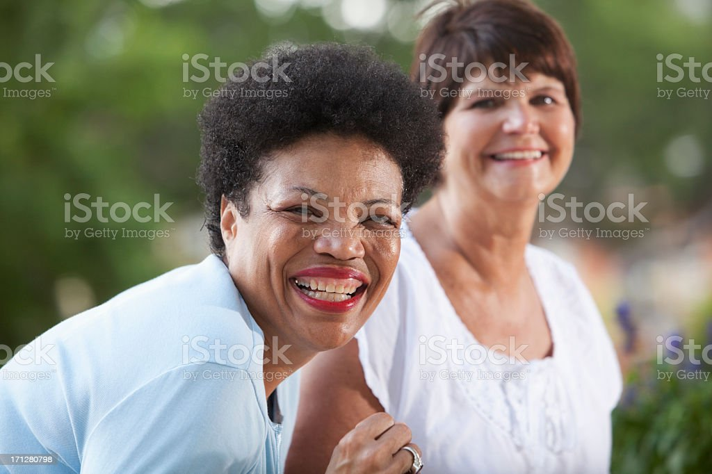 Mature women smiling stock photo