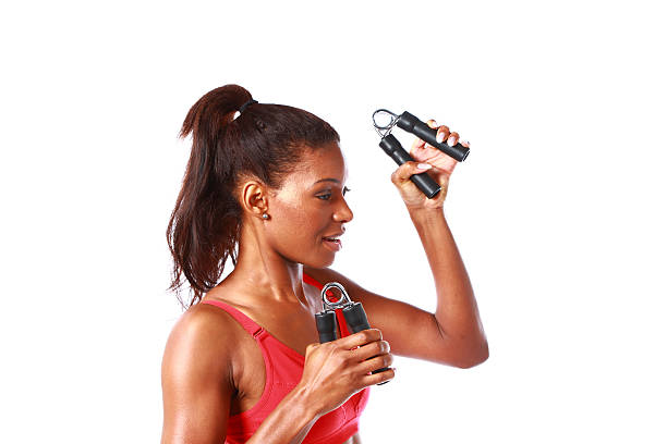 mature women working out stock photo