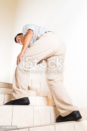 181879982istockphoto Matured man suffering acute knee joint pain climbing steps 474688534