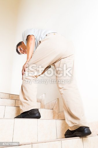 181879982istockphoto Matured man suffering acute knee joint pain climbing steps 474715660