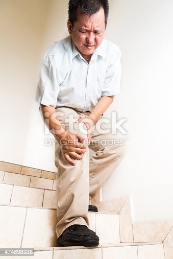 181879982istockphoto Matured man suffering acute knee joint pain descending steps 474698938