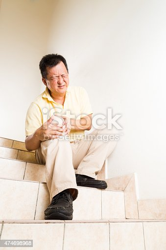 181879982istockphoto Matured man suffering acute knee joint pain seated on steps 474698968