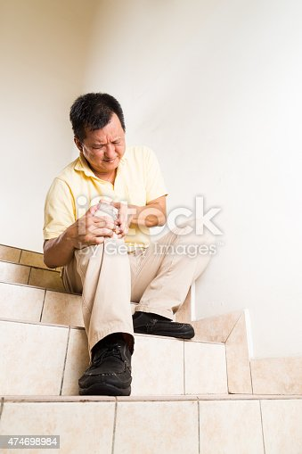 181879982istockphoto Matured man suffering acute knee joint pain seated on steps 474698984