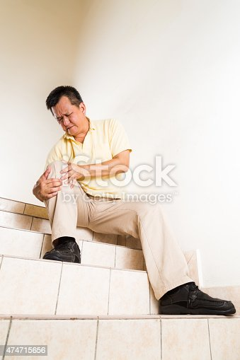 181879982istockphoto Matured man suffering acute knee joint pain seated on steps 474715656