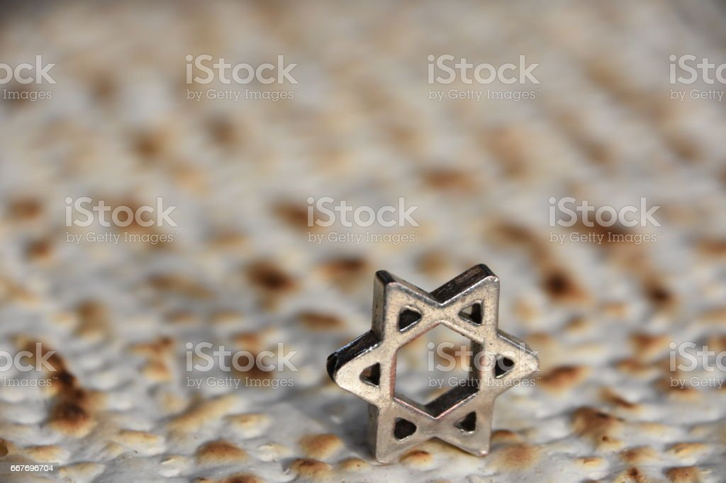 Matza, Star of David stock photo