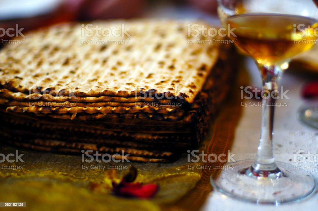 Matzah and wine Passover Seder meal stock photo